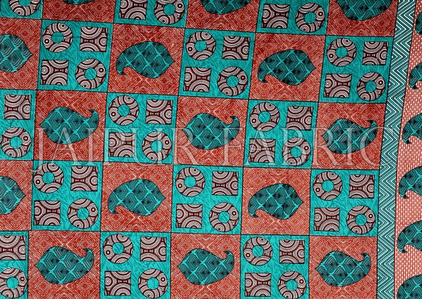 Turquoise Border Circle Pattern Screen Print Cotton Double Bed Sheet