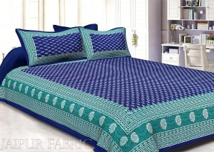 Wholesale Navy Blue Color Floral Pattern Screen Print Cotton Double Bed Sheet