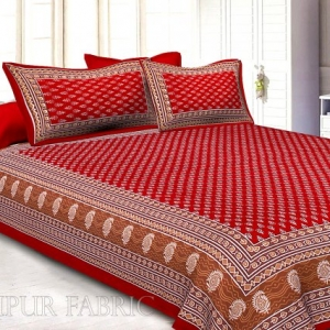 Crimson Border Floral Pattern Screen Print Cotton Double Bed Sheet