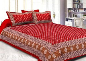 Wholesale Crimson Border Floral Pattern Screen Print Cotton Double Bed Sheet