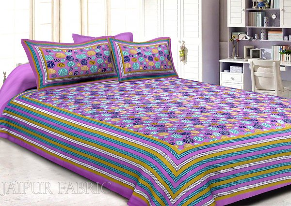 Plum Border Plum Base Stone Pattern Screen Print Cotton Double Bed Sheet