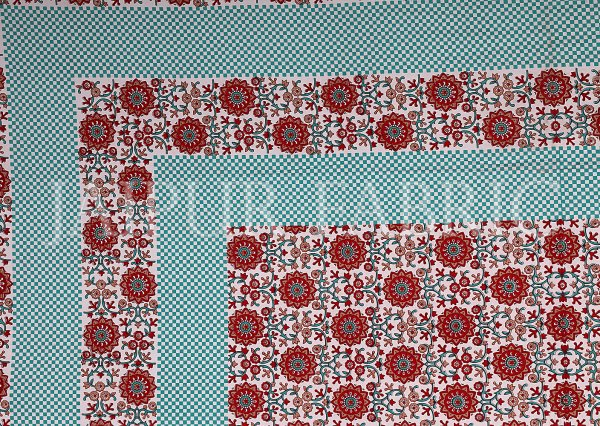 Brown Border White Base Floral Pattern Screen Print Cotton Double Bed Sheet