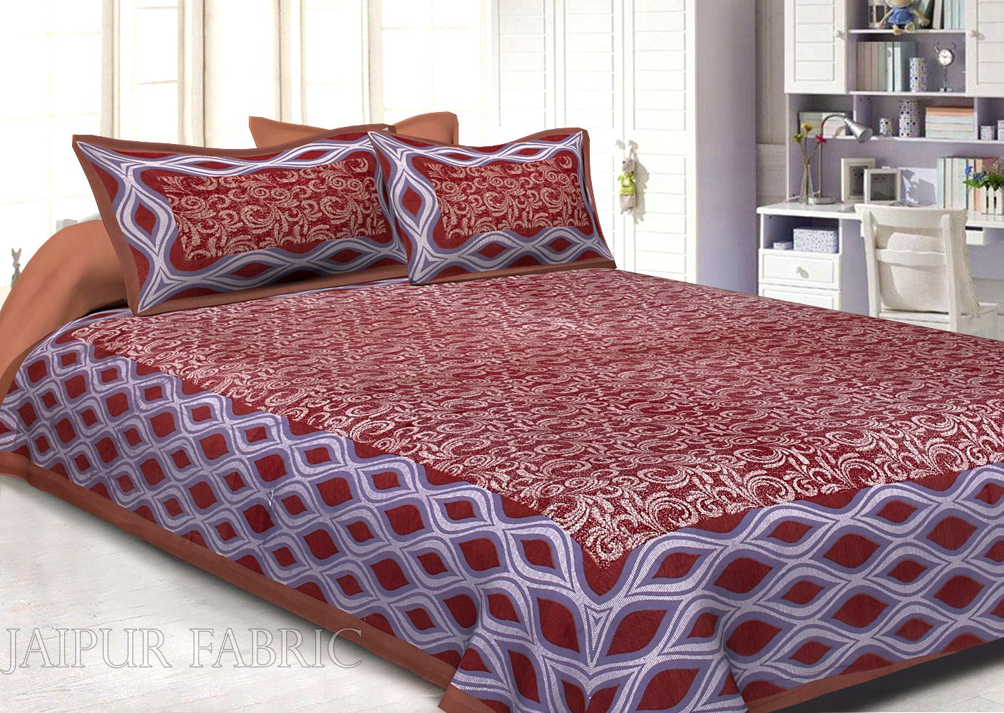 Brown Border Retro Pattern Screen Print Cotton Double Bed Sheet