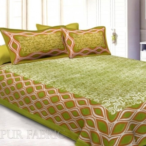 Green Border Retro Pattern Screen Print Cotton Double Bed Sheet