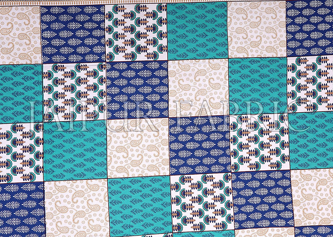 Sea Green Border Square Pattern Screen Print Cotton Double Bed Sheet