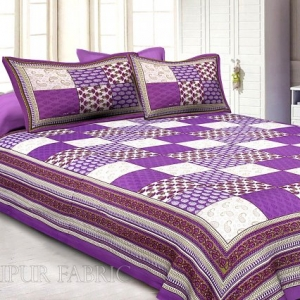 Purple Border Square Pattern Screen Print Cotton Double Bed Sheet