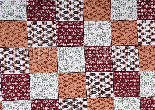 Brown Border Square Pattern Screen Print Cotton Double Bed Sheet