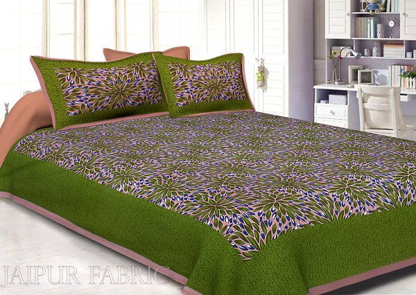 Olive Drab Border Leaf Pattern Screen Print Cotton Double Bed Sheet