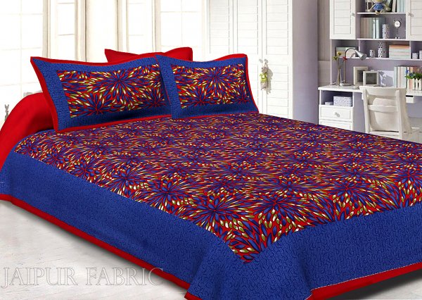 Maroon Border Blue Base Leaf Pattern Screen Print Cotton Double Bed Sheet
