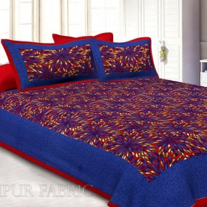 Maroon Border Blue Base Leaf Pattern Screen Print Cotton Double Bed Sheet