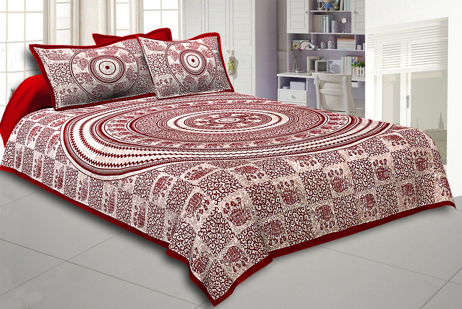 Maroon Border Cream Base Mandal   With Elephant Print Super Fine Cotton Bed Sheet