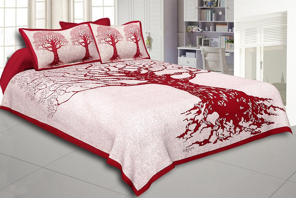 Maroon Border Light Cream base Big Tree Pattern  Super Fine Cotton Double Bed Sheet