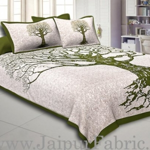 Green  Border Light Cream base Big Tree Pattern  Super Fine Cotton Double Bed Sheet