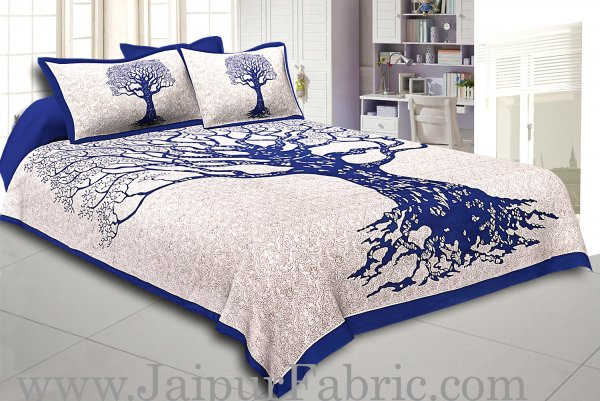 Blue  Border Light Cream base Big Tree Pattern  Super Fine Cotton Double Bed Sheet