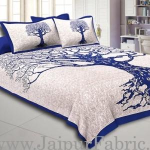 Blue  Border Light Cream base Big Tree Pattern  Super Fine Cotton Double Bed Sheet