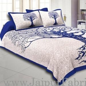 Wholesale  Blue Border Light Cream base Big Tree Pattern Super Fine Cotton Double Bed Sheet