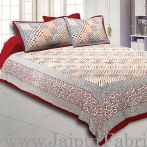Maroon Border  With Multi Checkered Pattern Fine Cotton Double Bedsheet With Two Pillow Cover