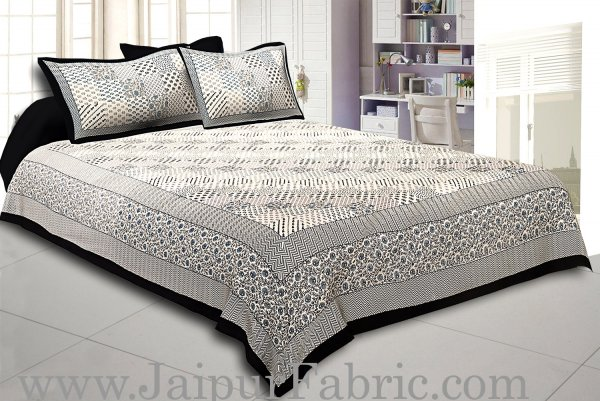 Black Border With Multi Checkered Fine Cotton Double Bedsheet With  Two Pillow Cover