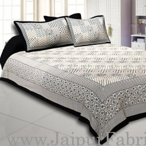 Wholesale  Black Border With Multi Checkered Fine Cotton Double Bedsheet With Two Pillow Cover