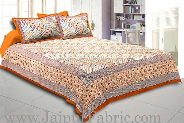 Brown Border With Multi Checkered  Fine Cotton Double Bedsheet With Two Pillow Cover