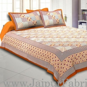 Wholesale  Brown Border With Multi Checkered Fine Cotton Double Bedsheet With Two Pillow Cover