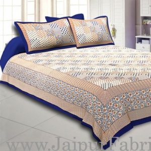 Blue Border With Multi Checkered Fine Cotton Double Bedsheet With  Two Pillow Order