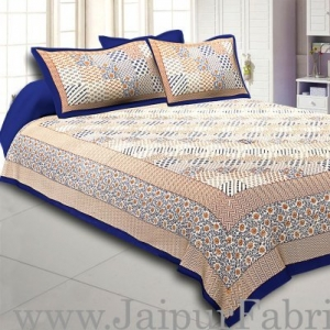 Wholesale  Blue Border With Multi Checkered Fine Cotton Double Bedsheet With Two Pillow Order
