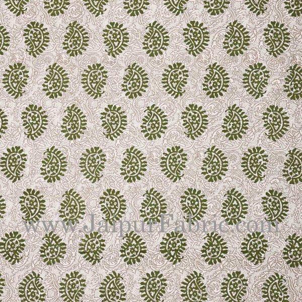 Green Border  Cream Base Kerry Pattern Hand Block Print Super Fine Cotton Bed Sheet