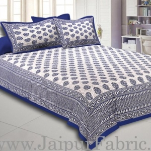 Blue Border  Cream Base Kerry Pattern Hand Block Print Super Fine Cotton Bed Sheet