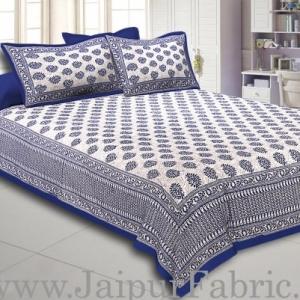 Blue Border  Cream Base Kerry Pattern Hand Block Print Super Fine Cotton Bed Sheet