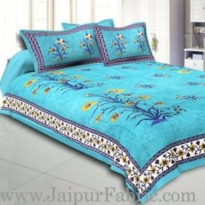 Wholesale Sea Green Border Tree Print Sea Green Base   Cotton Double  Bed Sheet