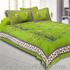 Green Border Tree Print Yellow Base Cotton Double  Bed Sheet
