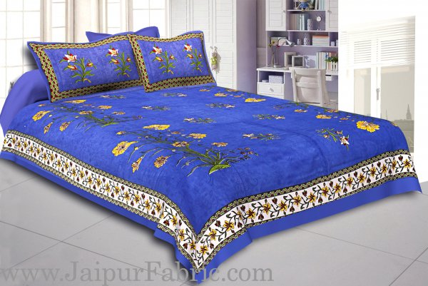 Blue Border Tree Print Blue Base Cotton Double  Bed Sheet