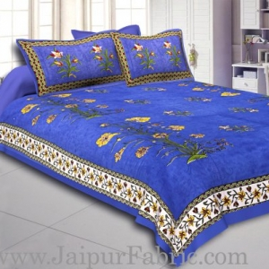 Blue Border Tree Print Yellow Base Cotton Double  Bed Sheet