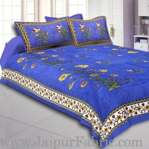 Wholesale Blue Border Tree Print Yellow Base Cotton Double  Bed Sheet