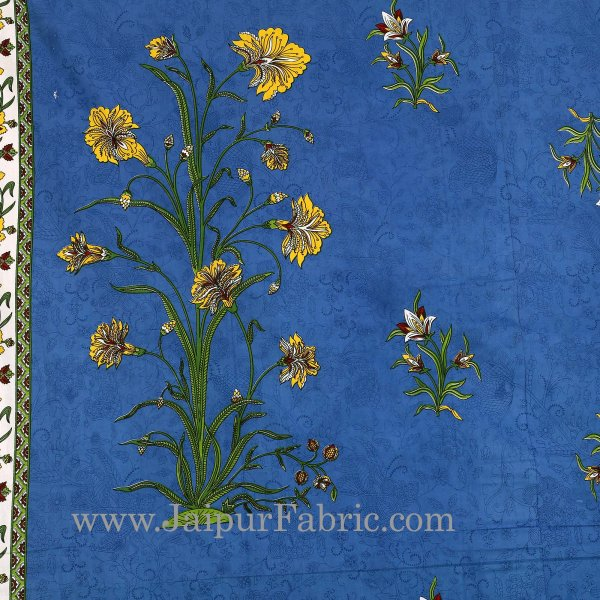 Blue Border Tree Print Yellow Base Cotton Double  Bed Sheet