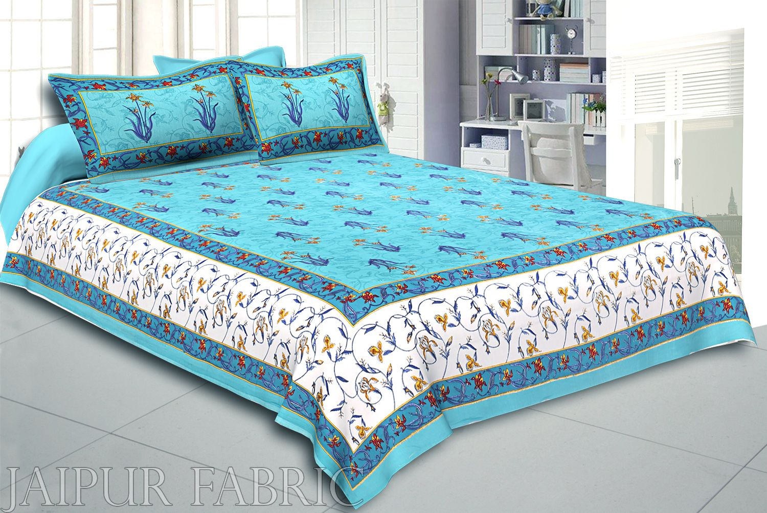 Sea Green And Cream Border With Sea Green Base With  Small Mughal Print Cotton Double Bedsheet