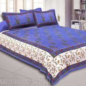 Blue And Cream Border With Blue Base With  Small Mughal Print Cotton Double Bedsheet