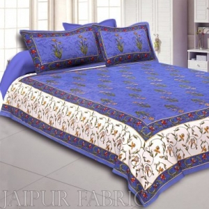 Wholesale Blue And Cream Border With Blue Base With  Small Mughal Print Cotton Double Bedsheet