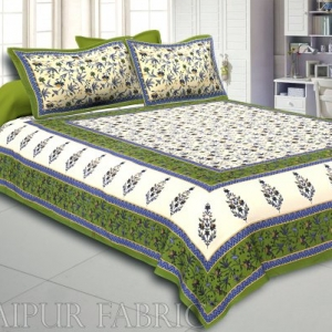 Green  Border Cream Base Floral Print Cotton Double Bedsheet