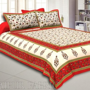 Red Border Cream Base Floral Print Cotton Double Bedsheet