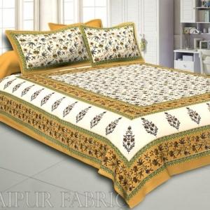 Brown Border Cream Base Floral Print Cotton Double Bedsheet