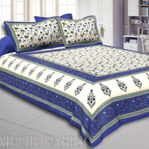 Blue Border Cream Base Floral Print Cotton Double Bedsheet