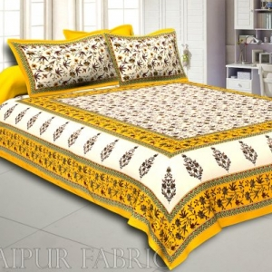 Yellow Border Cream Base Floral Print Cotton Double Bedsheet