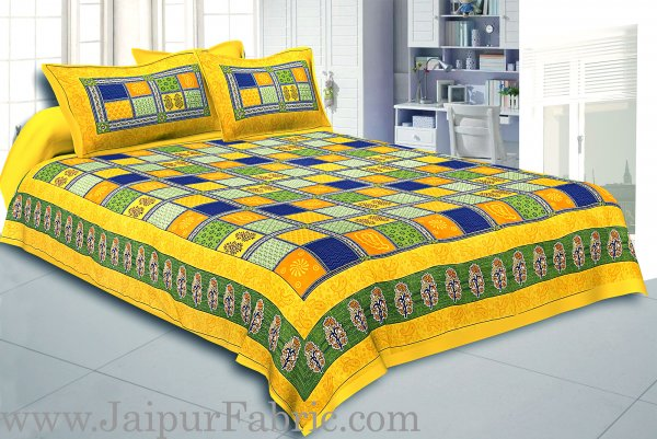 Yellow Border Multi Colour Checkered Super fine Coton Double Bedsheet