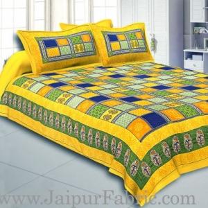 Yellow Border Multi Colour Checkered Super fine Coton Double Bedsheet