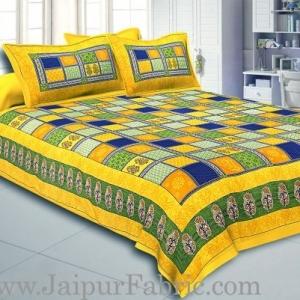 Wholesale Yellow Border Multi Colour Checkered Super fine Coton Double Bedsheet