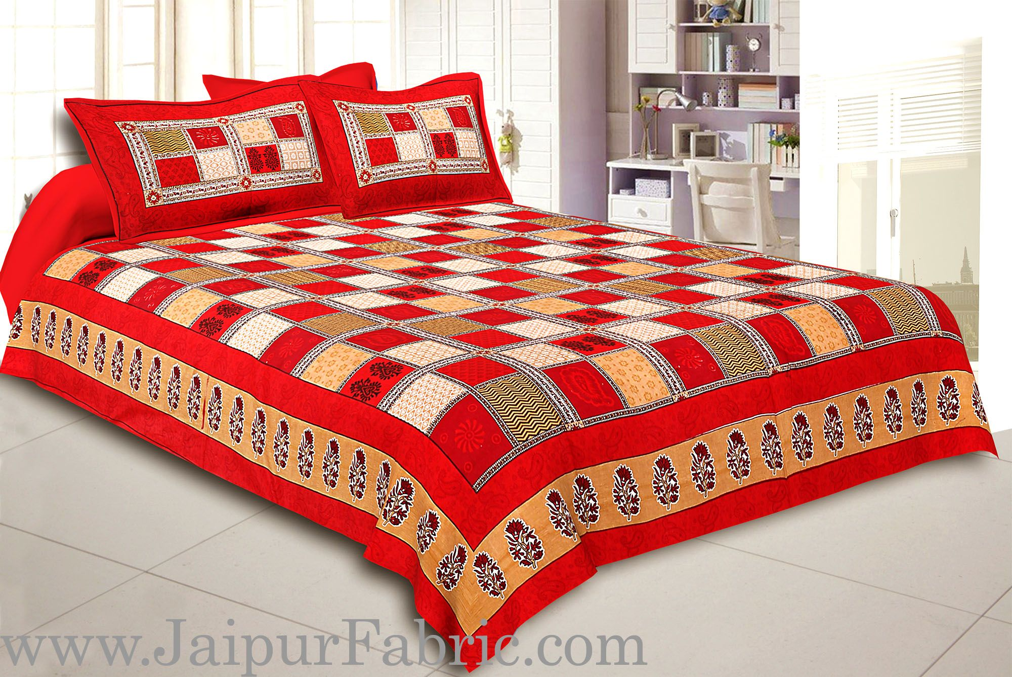 Maroon  Border Multi Colour Checkered Super fine Cotton Double Bedsheet