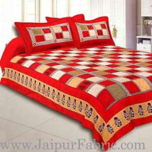 Maroon  Border Multi Colour Checkered Super fine Coton Double Bedsheet