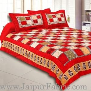 Wholesale Maroon  Border Multi Colour Checkered Super fine Cotton Double Bedsheet